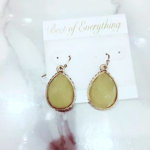 Green and Gold Plastic Tear Drop Earrings